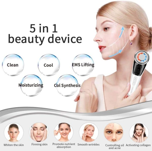 Photo1: NEW Face Massager ANLAN Ultrasonic Facial Machine Electric Skin Care Beauty Device With EMS+Hot/Cold+Ionic+Red/Blue Light Therapy (1)